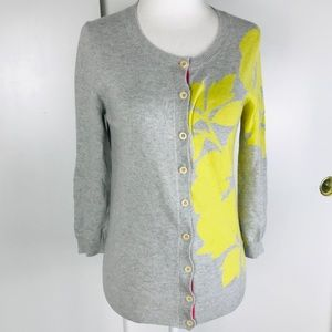 Boden Cashmere Angora Grey Yellow Cardigan Sweater